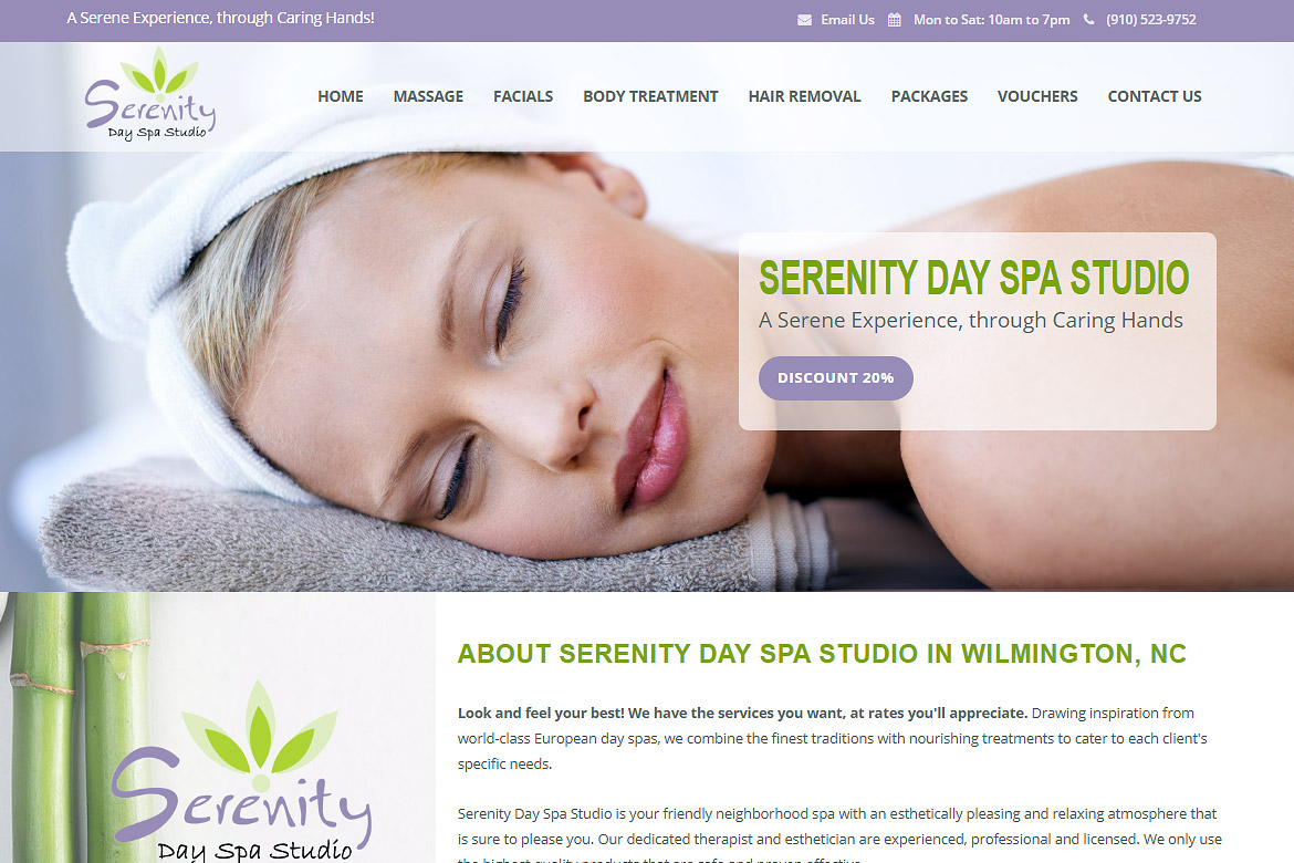 Serenity Day Spa Studio in Wilmington, NC!
